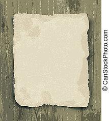oud, papier, op, de, hout, achtergrond