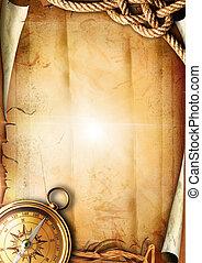 oud, papier, textuur, met, een, kompas