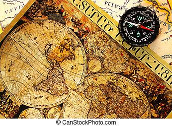 oud, papier, wereld, map.
