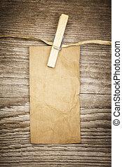 oud, papieraantekening, op, een, houten raad