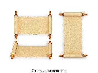 oud, parchments., op, vrijstaand, illustratie, verzameling, 3d, white.