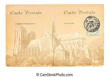 oud, parijs, postkaart