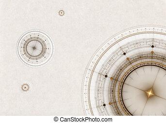 oud, perkament, kompas