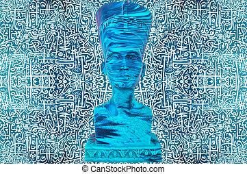 oud, pharaoh, standbeeld, egyptisch