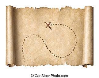 oud, piraten, draaien kaart rond, met, opvallend, schat, plaats