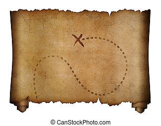 oud, piraten, kaart, met, opvallend, schat, plaats