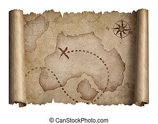 oud, piraten, schat, boekrol, met, gescheurd, randen, kaart, vrijstaand