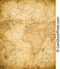 oud, piraten, schatkaart, achtergrond