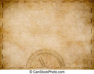 oud, piraten, schatkaart, met, kompas