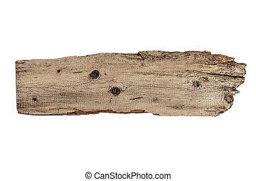 oud, plank, van, hout, vrijstaand, op wit