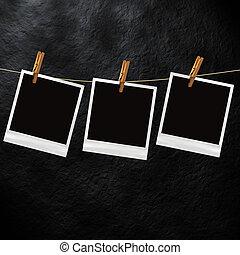 oud, polaroid, foto, mal
