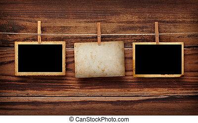 oud, postkaart, foto, hout, pin, kleren