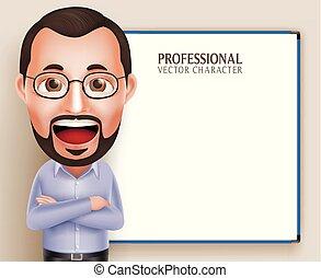 oud, professor, karakter, realistisch, vector, professioneel, 3d, leraar, man