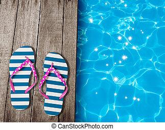 oud, raad, houten, mislukking, Tik, sandalen,  pool, zwemmen