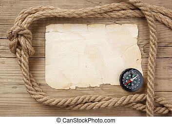 oud, raad, houten, ouderwetse , koord, papier, kompas