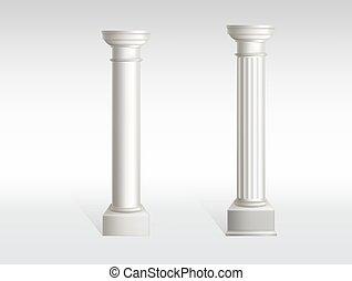 oud, realistisch, vector, wite knikker, kolommen