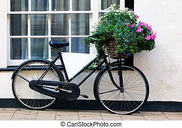oud, reclame, fiets met mand, van, bloemen