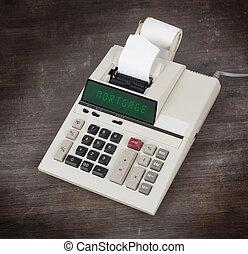 oud, rekenmachine, -, hypotheek