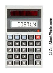 oud, rekenmachine, -, kosten