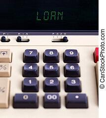 oud, rekenmachine, -, lening