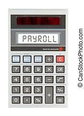 oud, rekenmachine, -, loonlijst