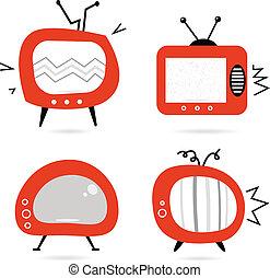 oud, retro, tv, verzameling, vrijstaand, op wit
