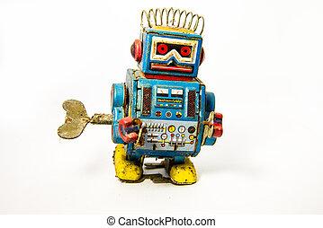 oud, roestige , op, robot, speelbal
