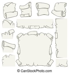 oud, rollen, papyrus, papier, vector, bladen