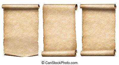 oud, rollen, vrijstaand, verzameling, of, papier, witte , perkament