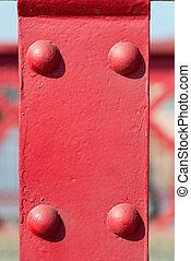 oud, rood, metaal, achtergrond, met, klinknagelen