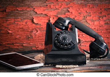 oud, roterende telefoon, hiernaast, een, tablet, computer
