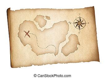 oud, schat, piraten, kaart, isolated., avontuur, concept.