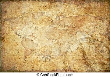 oud, schatkaart, meetlatje, koord, en, oud, messing kompas,...