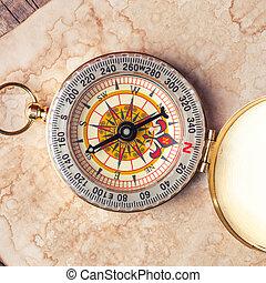 oud, schatkaart, met, kompas