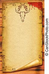 oud, schedel, cowboy, tekst, papier, achtergrond, stier