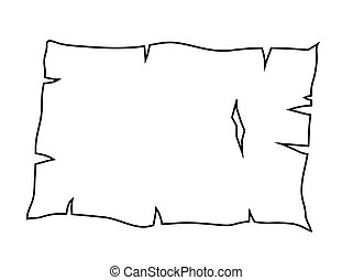 oud, schets, papier, symbool, vector, silhouette, gebrande, pictogram, perkament, design.