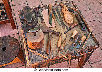 oud, schoenmaker, gereedschap