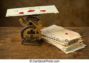 oud, schub, brieven, brief