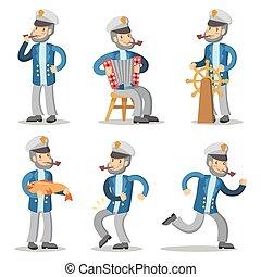 oud, set., karakter, illustratie, zeeman, vector, kapitein, spotprent, uniform.