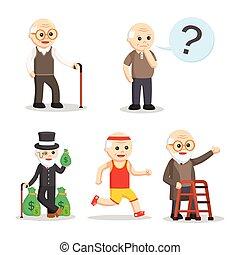 oud, set, karakter, man