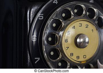 oud, sovjet, het draaien, telefoon wijzerplaat, close-up