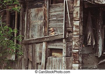 oud, speelhuis, vernietigde, krottenwijk, spooky
