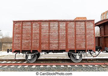 oud, spoorweg, houten auto, van, de, tijdperk, stoom locomotieven