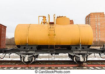 oud, spoorwegauto, regenbak, van, de, tijdperk, stoom locomotieven