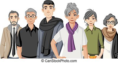oud, spotprent, mensen