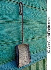 oud, stalletjes, houten lepel, ijzer, muur