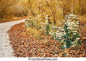 oud, steen, park, omheining