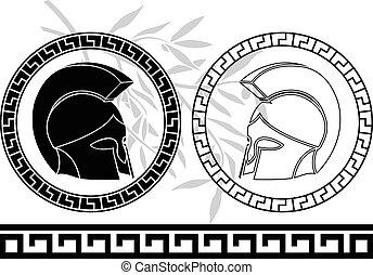 oud, stencil., variant, fantasie, helmets., vierde