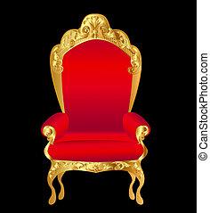 oud, stoel, rood, met, goud, ornament, op, black