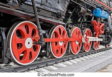 oud, stoom, locomotief, wielen